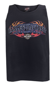 Harley-Davidson® Men's Sleeveless Muscle Tee, Authentic Flaming H-D Script, Black