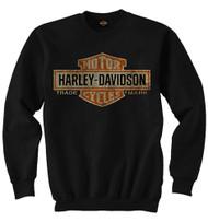 Harley-Davidson® Mens Elongated Bar & Shield Crew Neck Pullover Sweatshirt, Black - A