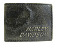 Harley-Davidson® Men's Burnished Skull ID Pocket Wallet Leather BM2651L-TanBlk