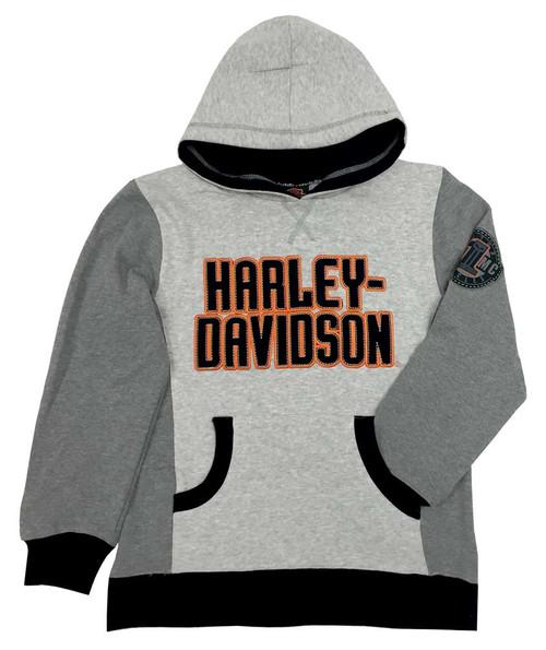 Harley-Davidson® Big Boys' Embroidered Fleece Pullover Hoodie, Gray 6591724