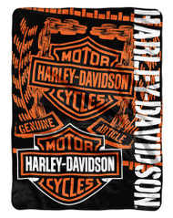 Harley-Davidson® Gear Bar & Shield Raschel Throw Blanket, Black & Orange NW047129