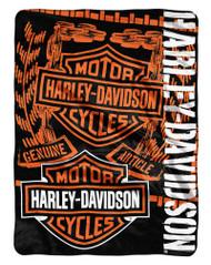 Harley-Davidson® Gear Bar & Shield Raschel Throw Blanket, Black & Orange NW047129