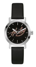 Harley-Davidson® Women's Bulova Watch, Glitter Harley Script, Black Strap 76L175 - A