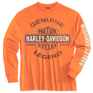 Harley-Davidson® Little Boys' Tee, Long Sleeve Genuine Legend, Orange 1580507