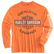 Harley-Davidson® Little Boys' Tee, Long Sleeve Genuine Legend, Orange 1580507