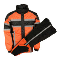 Nex Gen Men's Orange/Black/Grey Motorcycle Rain Suit Water Resistant SH233102