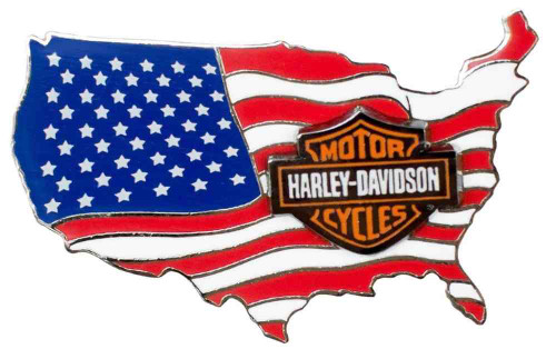 Harley-Davidson® American Flag USA Logo Pin On Pin, 1.75 x 1 inch 79830