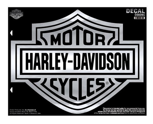 Harley-Davidson® Bar & Shield X-Large Chrome Decal, X-Large Size D3028C