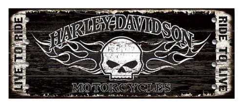 Harley-Davidson® 17 x 44 Genuine Willie G Skull Studded Wood Sign W5-SCGPX8-HARL
