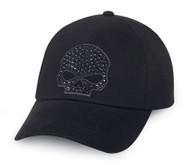 Harley-Davidson® Women's Rhinestone Skull Baseball Cap, Black Cotton. 99502-15VW
