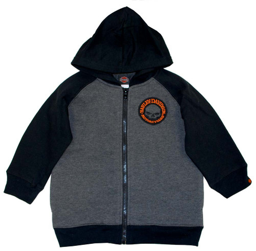 Harley-Davidson® Big Boys' Skull Fleece Zipper Hoodie Grey & Black 0391472 - A