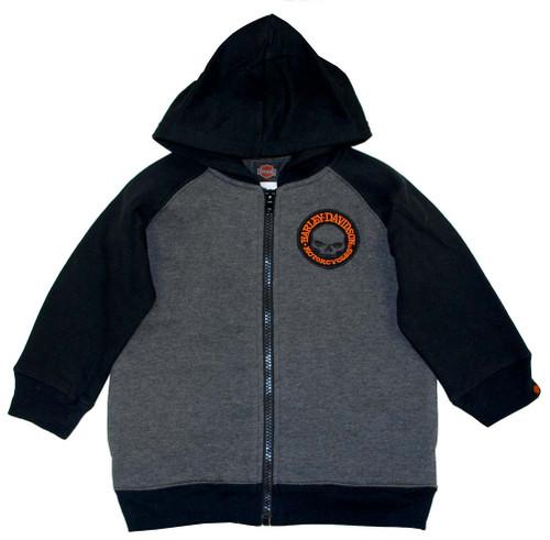 Harley-Davidson® Big Boys' Skull Fleece Zipper Hoodie Grey & Black 0391472 - A