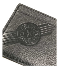 Harley-Davidson® Mens Black Leather C4 Front Pocket Wallet CC8197L-BLACK