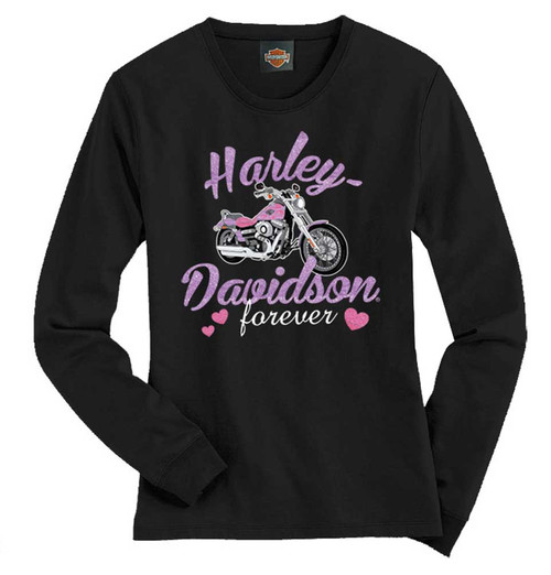 Harley-Davidson® Big Girls' Tee, Long Sleeve Glitter Bike Shirt, Black 1540585 - A
