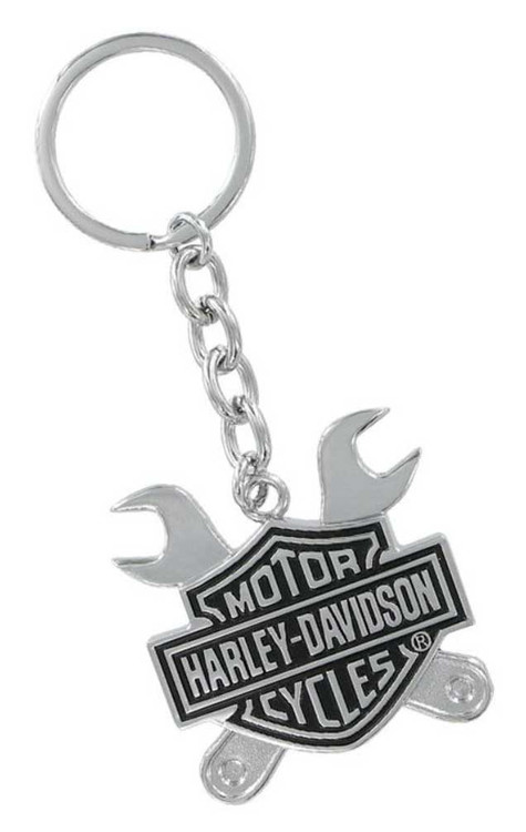 Harley-Davidson® Bar & Shield Logo Cross Wrenches 3D Chrome Key Chain HDKD276