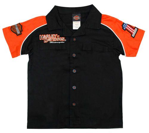 Harley-Davidson® Big Boys' Orange Cotton Button Twill Crew Shirt 0391474 - A