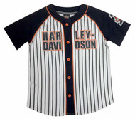 Harley-Davidson® Little Boys' Raglan Baseball Jersey, White/Orange/Black 1082529