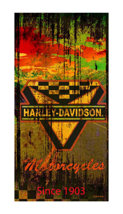 Harley-Davidson® Beach Towel, Vintage Road Graphic, 30 x 60 Inch 12260