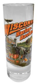 Harley-Davidson® Wisconsin Harley-Davidson® Dealer Tall Shot Glass, Clear CSHOT