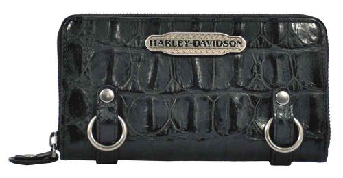 Harley Davidson Womens Black Hammered Croco Zip Clutch Wallet HC7990L-BLK