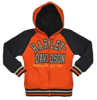 Harley-Davidson® Little Girls' Hooded Sweatshirt, Sherpa Fleece Hoodie 3331492 - A