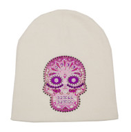 That's A Wrap Women's Beanie, Pink Candy Skull, White Hat B1311-WHITE