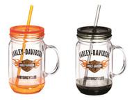 Harley-Davidson® Flaming Bar & Shield Mason Jar Cups, 2 Pack Gift Set P24084901