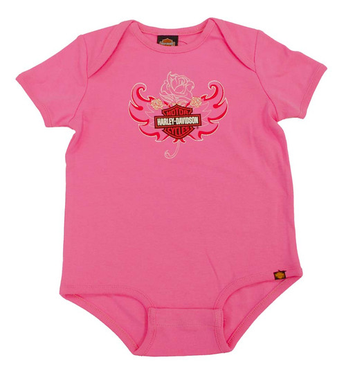 Harley-Davidson® Baby Girls' Rose Bar & Shield Creeper S9LGI52HD