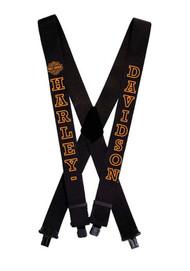 Harley-Davidson® H-D Name Black Suspenders, 48 Inch SUS022305