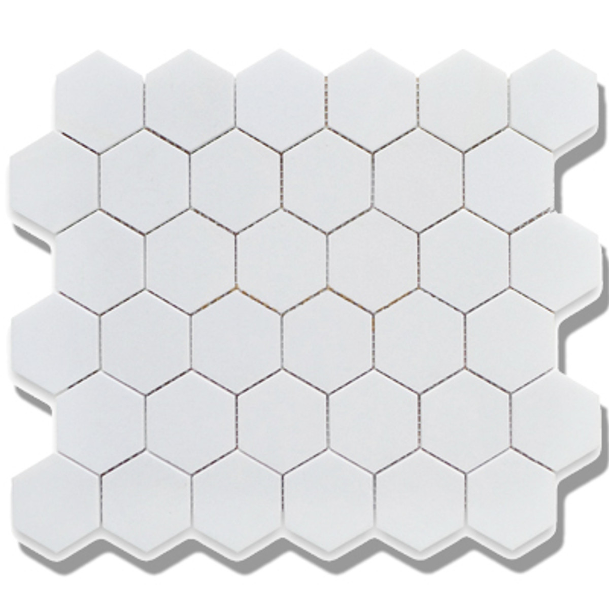 "Alameda Snow White Matte 2"" Porcelain Hexagons"