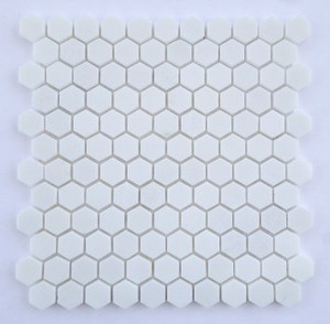 "Thassos Polished or Honed 1"" Hexagons"