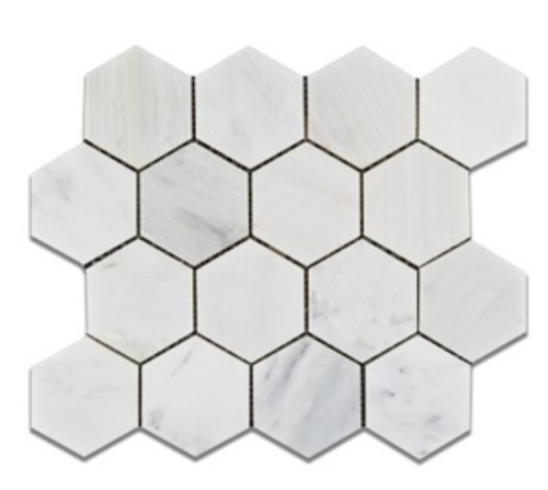 """Ocean White 3"""" Hexagons Honed Or Polished"""