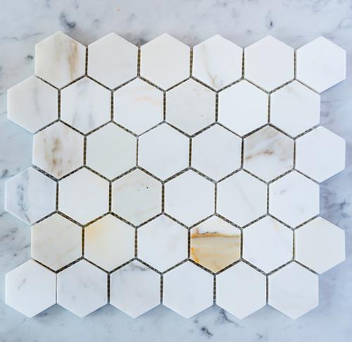 """Calacatta Gold 2"""" Hexagon"""