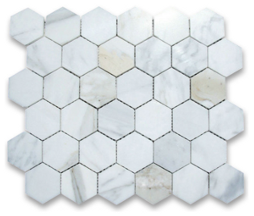 "Calacatta 2"" Honed Hexagons"
