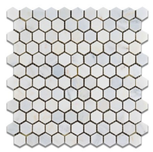 Ocean White 1x1 Hexagon Honed Or Polished