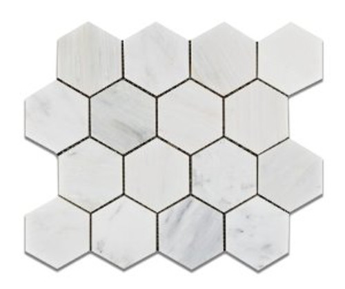 "Ocean White 3"" Honed or Polished Hexagons"