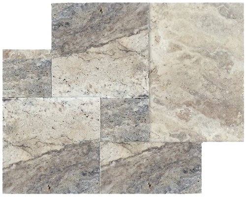 Silver Travertine Brushed & Chiseled & Unfilled Versailles Pattern