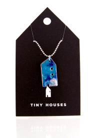 Tiny Houses Enameled Copper Necklace / Seaside