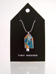 Tiny Houses Enameled Copper Necklace / Tropical