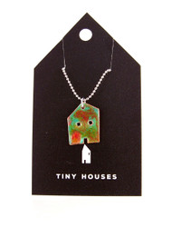 Tiny Houses Enameled Copper Necklace / Woodland