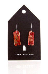 Tiny Houses Enameled Copper Earrings / Farmhouse