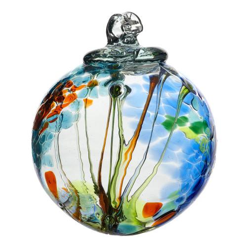 """6"""" Spirit Ball - Light Blue - Kitras Art Glass"""