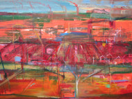'Changing Landscape: Hudson, Massachusetts' by Randy LeSage - Acrylic, Collage and Drawing Media on Canvas