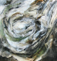 'Whirlpool' by Artist Sachiko Beck, Mixed Media Collage on Wood Panel