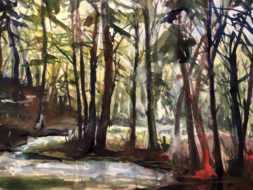 """'Mare Meadow Tributary' by Artist Clara Dennison, Watercolor, 14"""" x 11"""""""