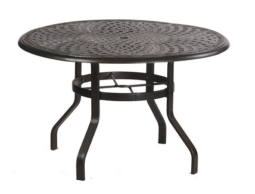 Waverly 60in Round Aluminum Dining Table with Inlaid Lazy Susan by Alu Mont