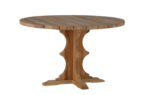 French Teak 48in Round Dining Table