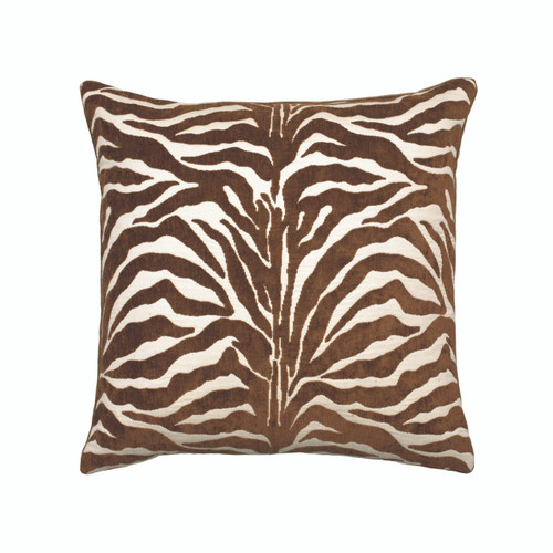 Zebra Chocolate - Designer Outdoor Pillow by Elaine Smith