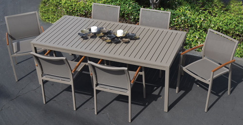 Compass Butterfly Aluminum Slat Dining Table