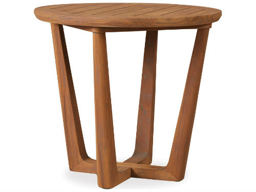 Teak Round Sled Base End Table